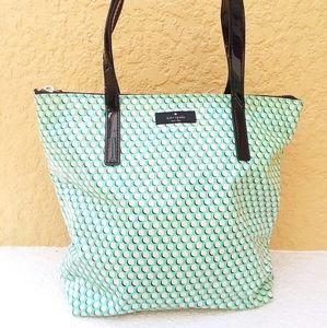 KATE SPADE Green Polkadot Coated Bag Handbag Tote